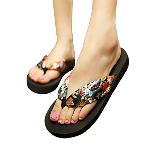 5bc804026362 Womens Ladies Girls Bohemian Style Satin Silk Comfortable Thongs Casual  Sandals Mid Heel Platform Shoes Summer