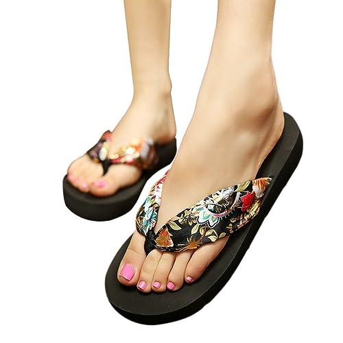 0393b7e989bbb Womens Ladies Girls Bohemian Style Satin Silk Comfortable Thongs Casual  Sandals Mid Heel Platform Shoes Summer