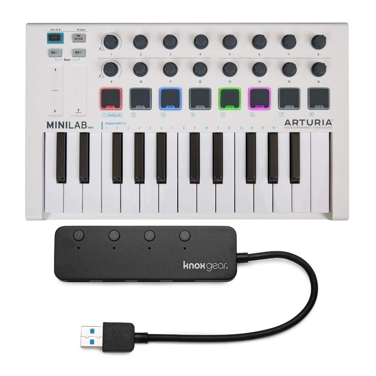 Arturia MiniLab MkII 25 Slim-Key Controller with Knox 3.0 4 Port USB HUB by Arturia