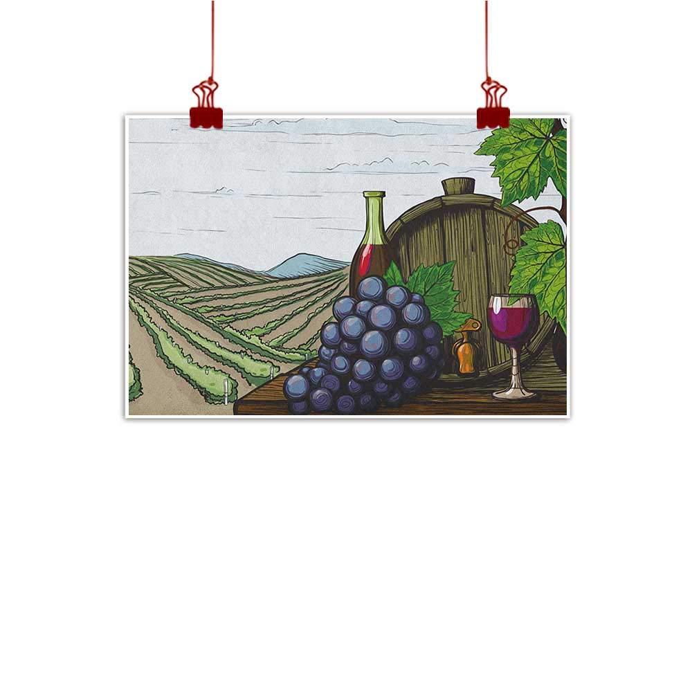 J Chief スカイウォールアートプリント ホームデコ ワイン、グランジーエージドディスプレイ ワインをグラスに注ぐ レトロ、アーモンドグリーン オリーブグリーン ルビー 水彩画ホームデコプリントポスター 32\ カラー08 B07Q1ZK7L2