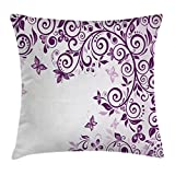 Ambesonne Mauve Decor Throw Pillow Cushion Cover, Classic Twiggy French Styled Lilium Floral Branch Lovely Swirls Design Artwork Print, Decorative Square Accent Pillow Case, 16 X 16 Inches, Violet
