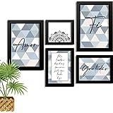 Kit 5 Quadros Decorativos Com Moldura Frase Motivacional Gratidão