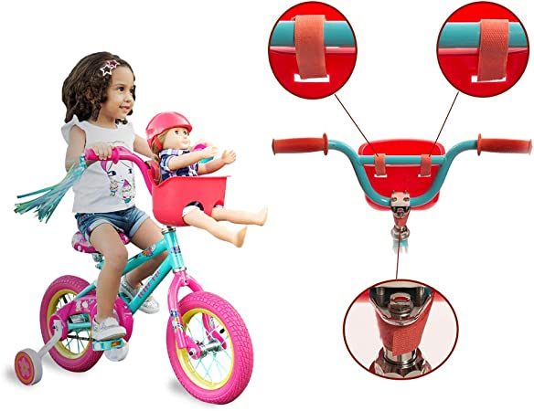 Bikes on Hikes Doll Seat Set Fun Hot Pink Bike Accessories and Birthday Gift for Girls Universal Scooter and Bicycle Carrier and Helmet for Dolls and Stuffed Toys
