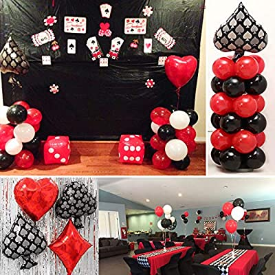 PartyWoo Casino Party Decorations 54 Pcs Red Balloons Black White Mylar For Las Vegas Theme