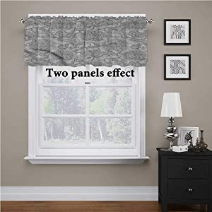 shirlyhome Grey and White Kitchen Curtains Vintage Peonies Buds Top Window Decor, 60 Inch by 18 Inch 1 Panel