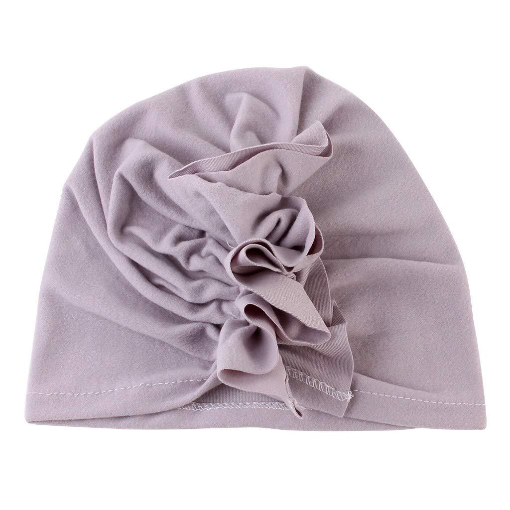 Girls Boys Soft Coton Head Wrap Hat Cute Fashion Ruched Hats Gray