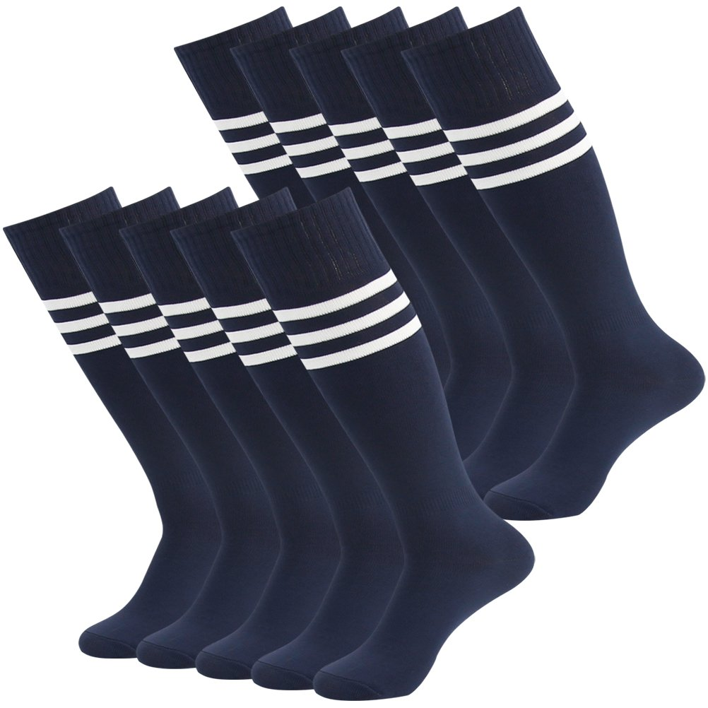 Football Socks Men Navy, Mifidy Extra Long Team Sport Super Stretch Sport Socks for Men and Women, White Triple Strips (Navy) 10 Pairs by Mifidy