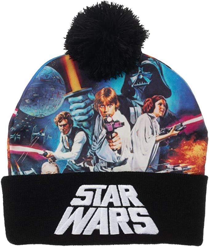 Colorful Star Wars beanie with characters on it