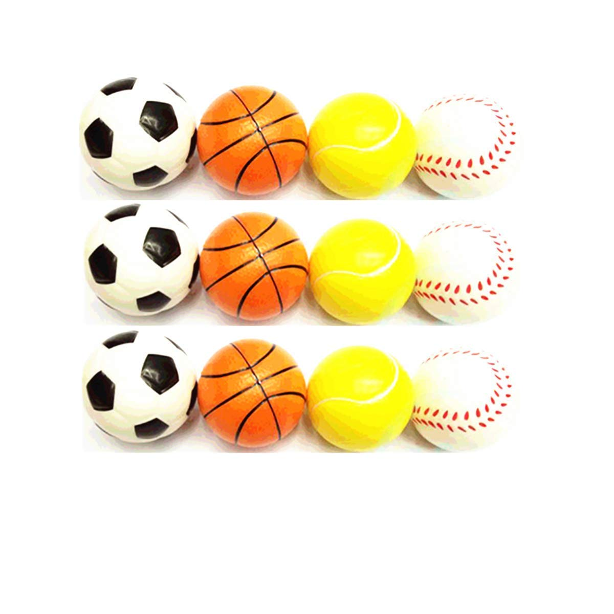 CNBest Set of 12 2.5 inches Four Type colorful Stress Balls Football Basketball Tennis Baseball Soft Fun Toy Gift Bundle Ball for Kids and Adults