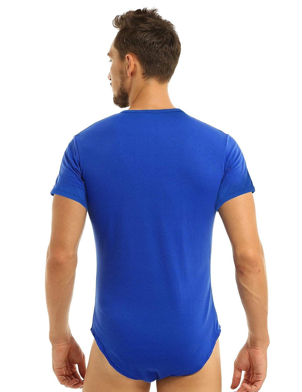 winying Maillot de Corps Sport Homme Body T-Shirt Manche Courte Justaucorps Danse Gymnastique Competition Bodysuit Shirt Soir/ée Cocktail Bal F/ête Leotard Dance M-XXL