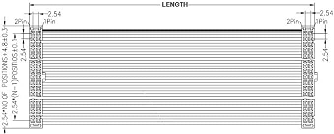 2Pcs 2.54mm Pitch 2x30 Pin 60 Pin 60 Wire IDC Flat Ribbon Cable Length 100CM