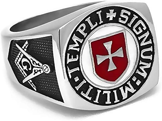 Ring Signet Ring Man Freemason Templar Red Cross Templi Signum Militi BOBIJOO JEWELRY