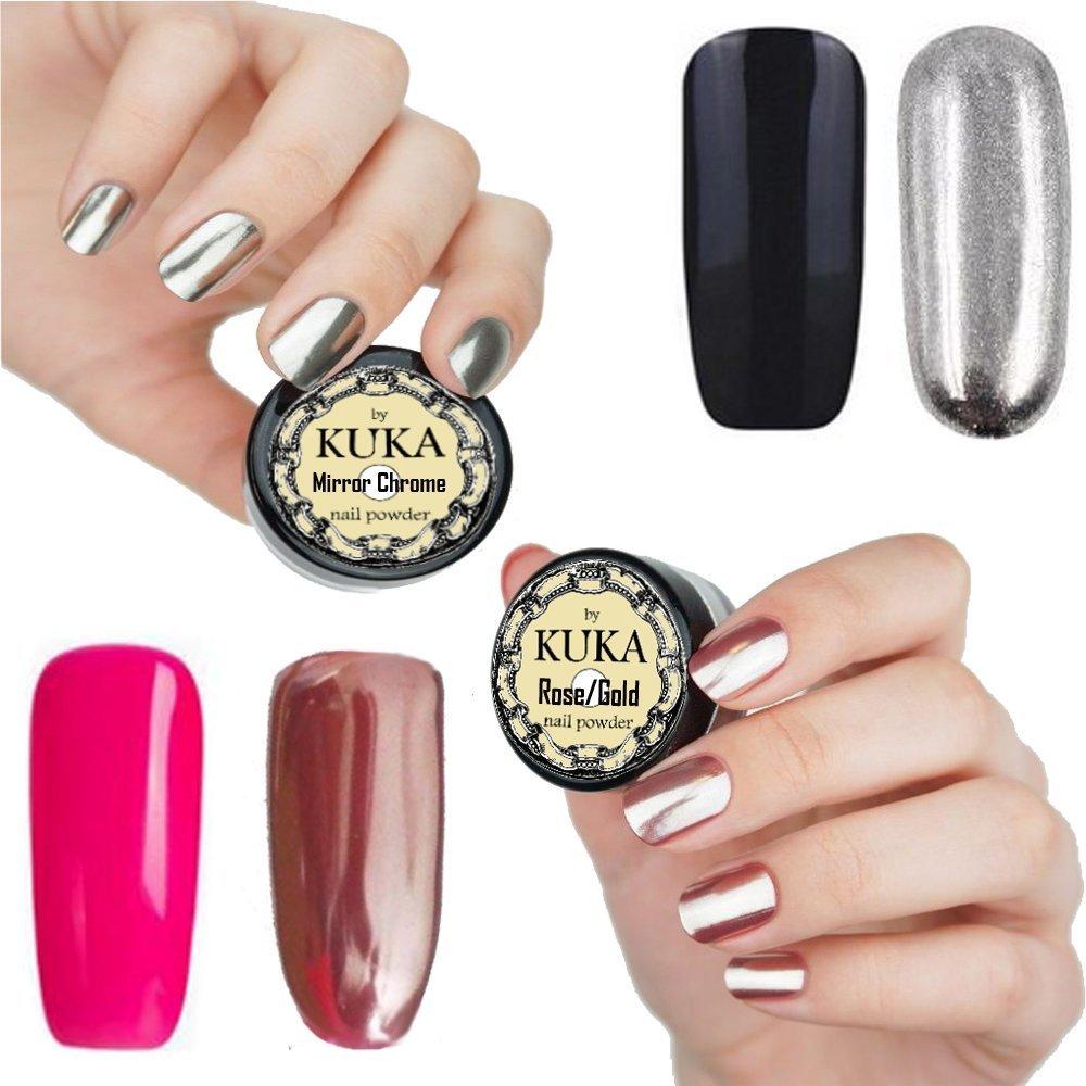 Kuka oro rosa uñas efecto cromado efecto espejo purpurina uñas arte ...