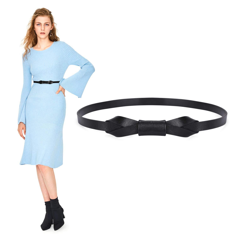 Women Skinny PU Leather Belt for Dress Ladies Adjustable Thin Waist Belt for Girls(Black, Waist Size 25-30 Inch)