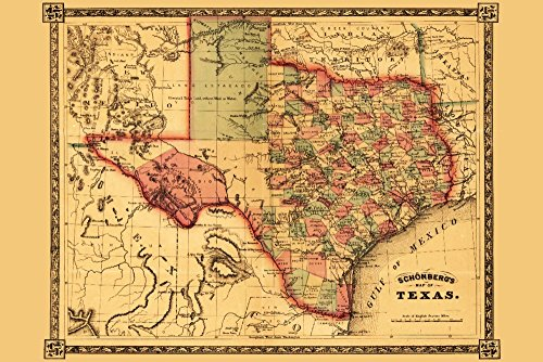 Texas - (1866) - Panoramic Map (24x36 Giclee Gallery Print, Wall Decor Travel Poster) (Travel Time From Austin To San Antonio)