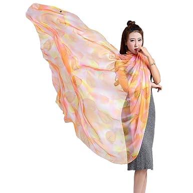 YiyiLai Echarpe Cover Up Bikini Imitation Soie Foulard Plage Protection de Soleil  Fleurs Imprimée Style   861e5d910ff