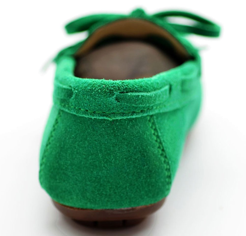 VECJUNIA Girls Soft Suede Bow Dress Loafers Indoor Slippers Oxford Moccasins Green 13 M US Little Kid by VECJUNIA (Image #4)