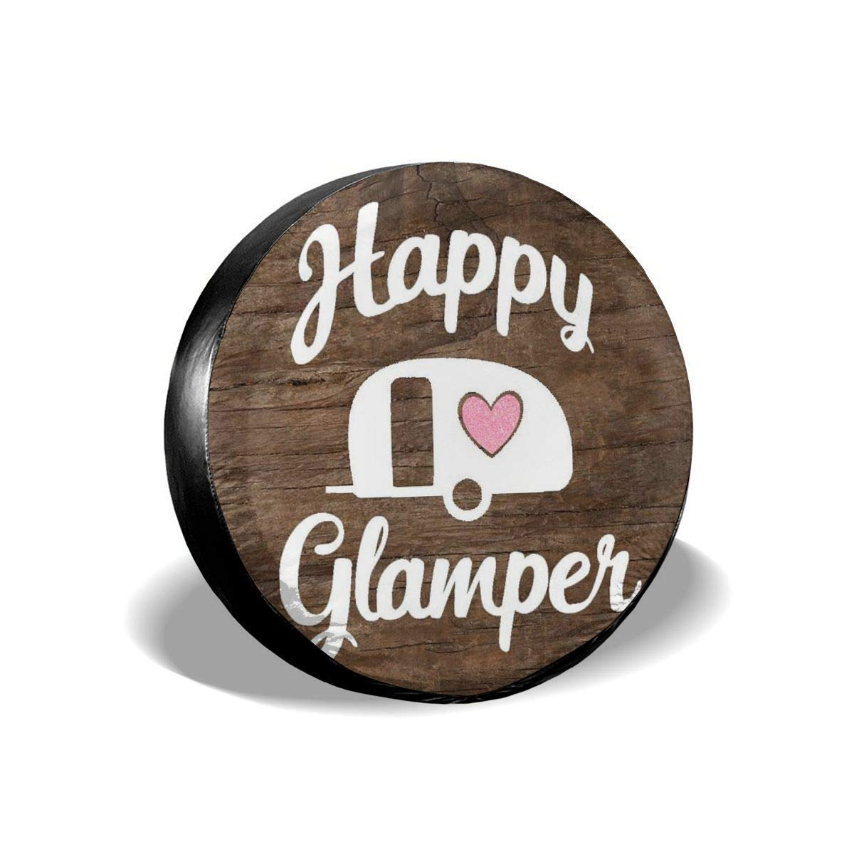 Car Tire Cover Sunscreen Protective Cover Happy Glamper Glitter Decal Water Proof Universal Spare Wheel Tire Cover Fit for Trailer RV SUV and Various Vehicles 14 15 16 17 Inch