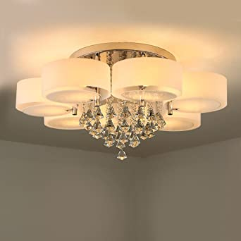 NATSEN Crystal Ceiling Light Metal Flush Mount Fixture For Dining Room Living Bedroom
