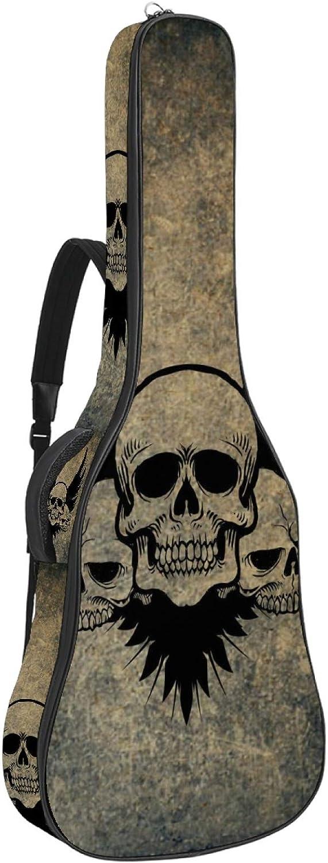 Bolsa para guitarra acústica de 106 cm, impermeable, acolchada, funda protectora avanzada para guitarra con doble correa ajustable, calavera extraña
