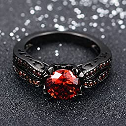 JunXin Black Gold 8MM Round Dark Red Ruby CZ Filled Solitaire Ring Engagement Size5/6/7/8/9/10/11(5)