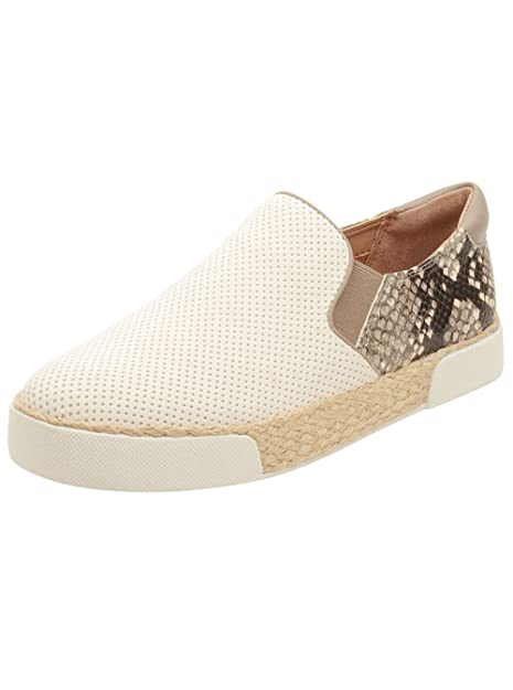 244c6df1a9d49b Sam Edelman Women s Banks Bright White Putty Suede Perf Shiny Burmese  Python Print Loafer