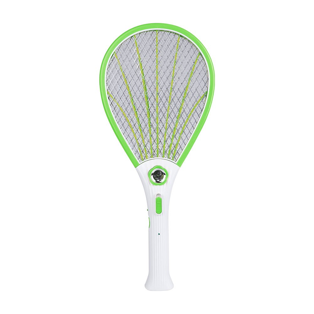 Delaman Bug Zapper Rechargeable Mosquito, Fly Killer and Bug Zapper Racket, 3500V, with LED Light, Double Switch, Green