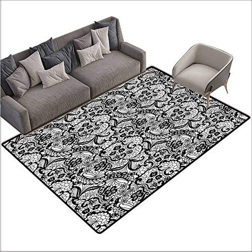 Rug Bathroom Mat Gothic,Classic Floral Lace Pattern 80
