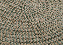 Chenille Braided Rug 5ft. x 8ft. Oval Myrtle Green Check Soft Bedroom Rug