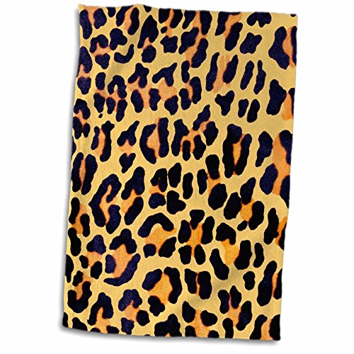 3D Rose Gold and Black Chic Leopard Print Towel, 15