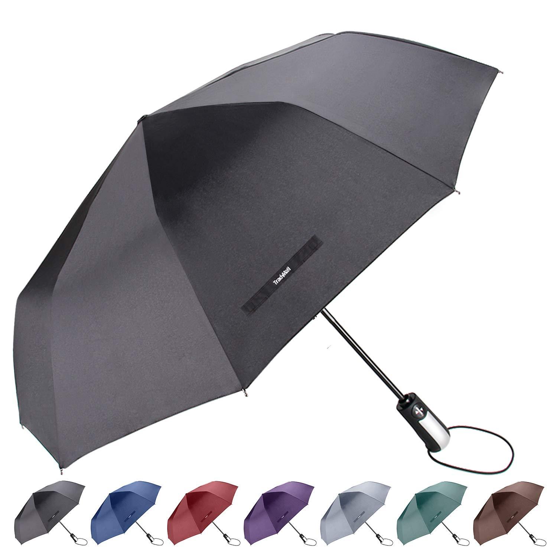 TradMall Travel Umbrella with 10 Reinforced Fiberglass Ribs 42'' Large Canopy Ergonomic Handle Auto Open & Close, Black