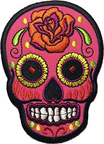 (Skull rose (pink) patch SIZE 6.5x9cm. biker heavy metal Logo Jacket Vest shirt hat blanket backpack T shirt Patches Embroidered Appliques Symbol Badge Cloth Sign Costume Gift)