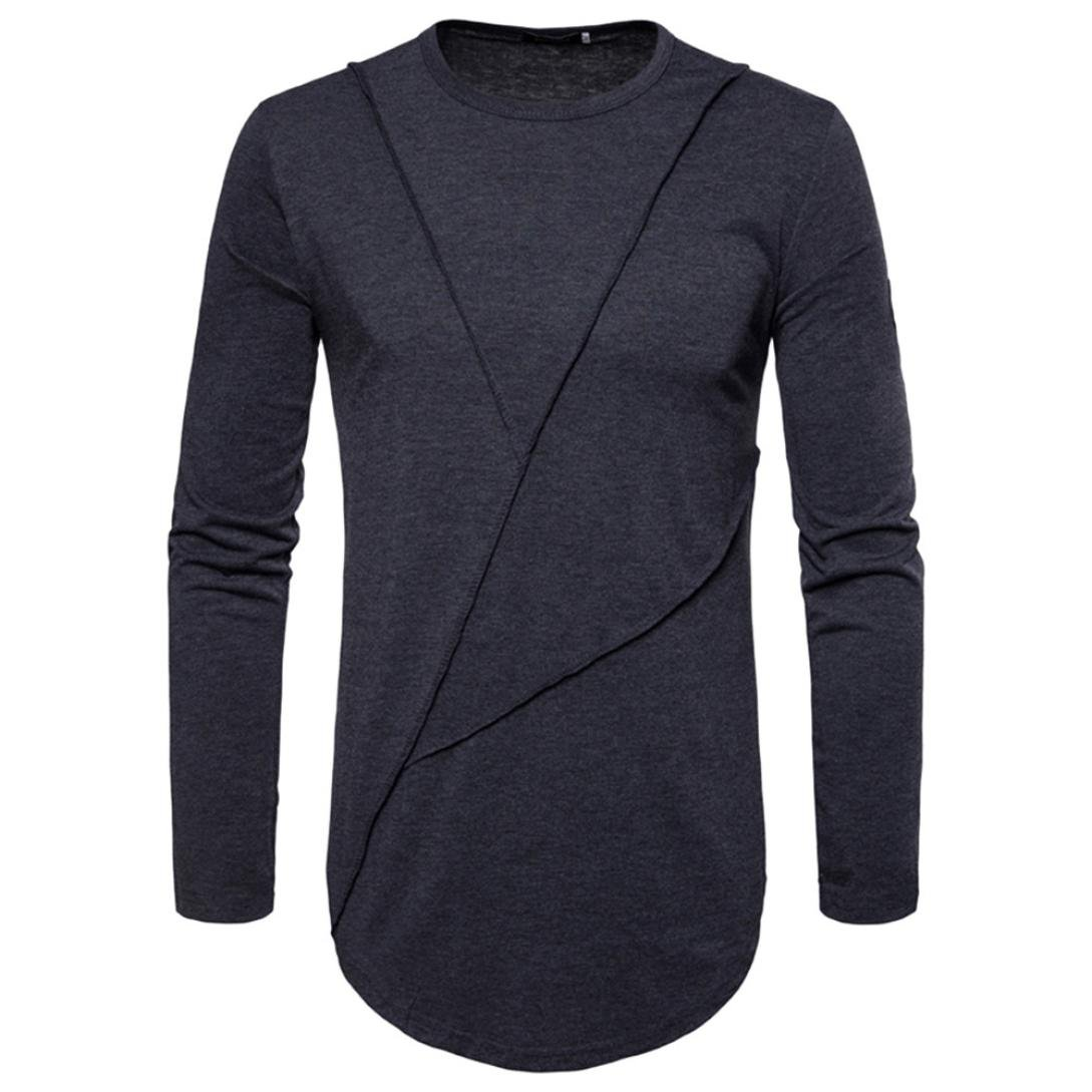 New Hot Sale!PASATO Fashion Men's Autumn Pure Color Joint Long Sleeved Sweatshirts Top Blouse(Dark Gray,M)