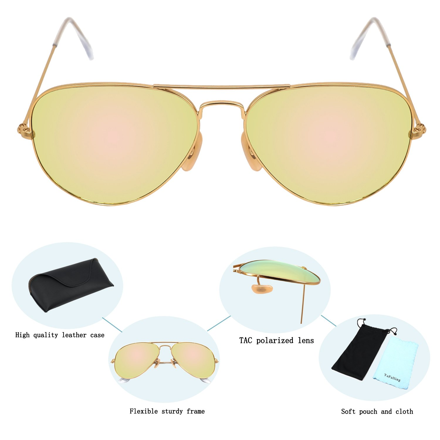 e3a95020f4 Amazon.com  YuFalling Aviator Sunglasses for Men and Women (gold frame cherry  pink lens
