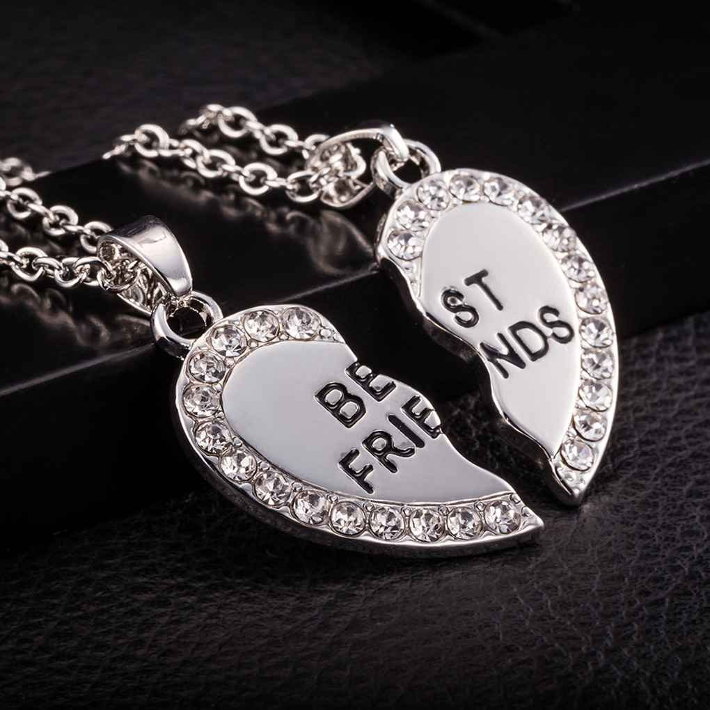 forbestest 2 unids Por Conjunto Coraz/ón Rhinestone Mejores Amigos Grabado Colgante Collar de la Amistad Para el banquete de boda