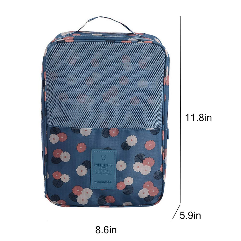 Portable Shoe Storage Bag Holds 3 Pair of Shoes for Travel,Gym and Daily Use Blue