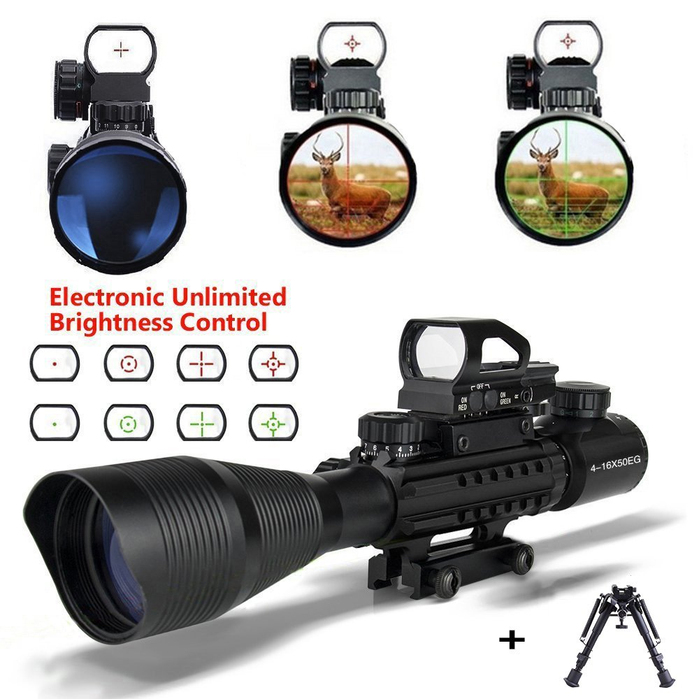 AR 15 Scopes and Optics with Bipod 4-16x50EG Tactical 22 Air Rifle Scope Dual Illuminated Holographic Red and Green Dot Sight (16 Month Warranty) for Hunting with 22&11mm Weaver/Picatinny Rail Mount
