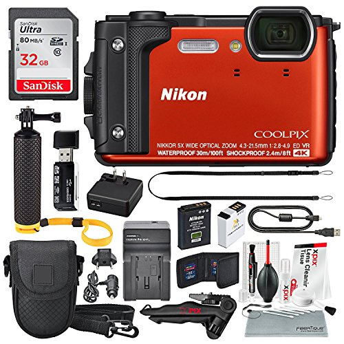 Nikon COOLPIX W300 Digital Camera (Orange) w/WiFi and Deluxe Adventure Bundle with 32GB + Case + Floating Grip +Battery + Xpix Cleaning Kit + More