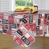 Everyday Luxuries by Newbridge Mesquite BBQ Flannel Backed Indoor Outdoor Vinyl Table Linens, 60-Inch by 84-Inch Oblong (Rectangle) Tablecloth