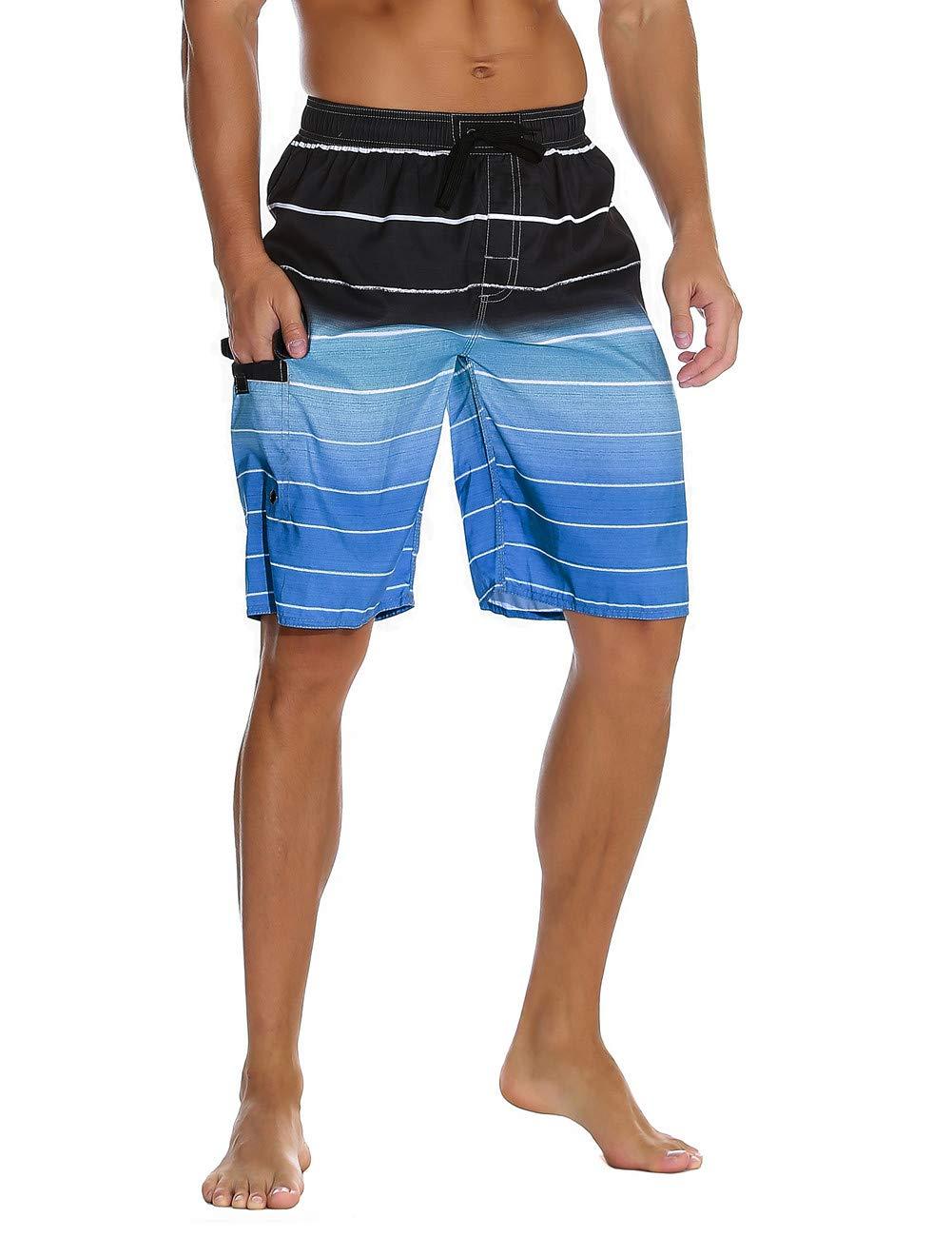 Unitop Men's Colortful Striped Swim Trunks Surfing Beach Board Shorts Lining Blue-36