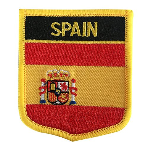 Spain Flag Patch - Spain Flag Emblem Morale Patch / Espana National Badge Iron-On Sew-On (Spanish Crest, 2.75