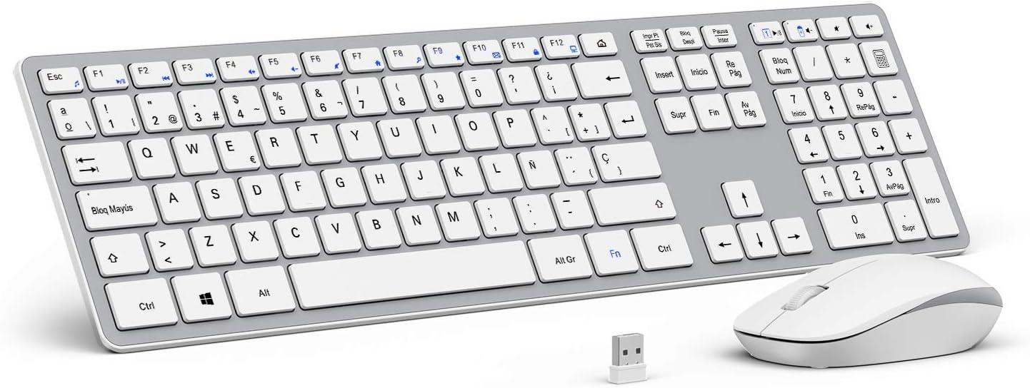OMOTON Pack de Teclado y Ratón Inalámbrico con USB (2.4 GHz, inalámbrico, Windows) Teclado Español con Teclas Numericas, Blanco