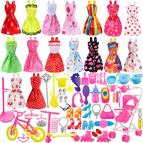 Total 114pcs - 16 Pack Clothes Party Gown Outfits for barbie dolls+ 98pcs Dolls Accessories Shoes Bags Necklace Mirror Hanger Tableware (Clothes Accessories And)