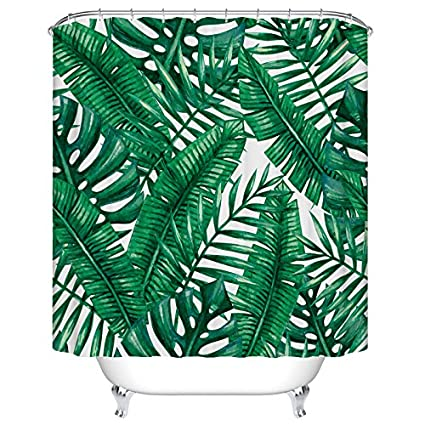 Tropical Palm Leaves Shower Curtain Custom Digital Print Polyester Fabric 72 X Inch Amazoncouk Kitchen Home
