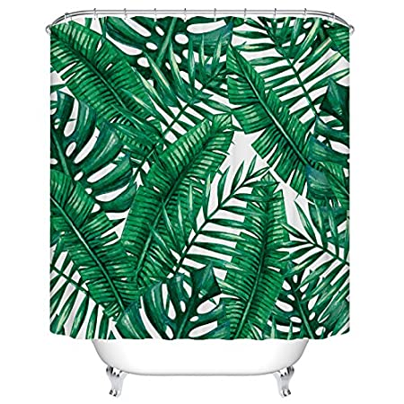 Tropical Palm Leaves Shower Curtain Custom Digital Print Polyester Fabric 72 X