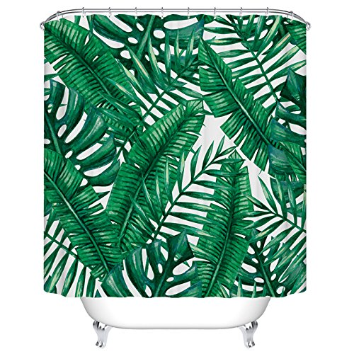 Tropical Palm Leaves Shower Curtain Custom Digital Print Polyester Fabric Shower  Curtain 72 X 72