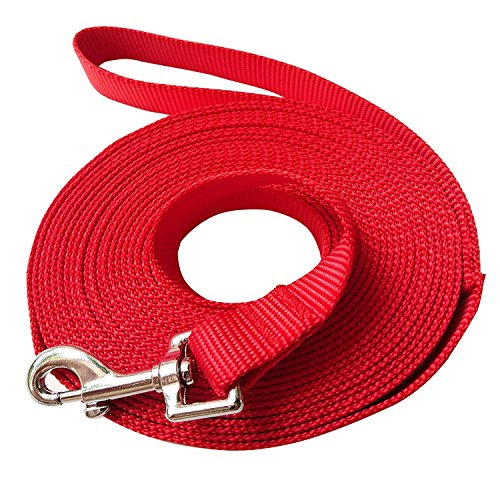 Hulless 20 Feet Dog Leash,Nylon Training Leash,Dog Traction Rope,Red Dog leashes for Small Dogs,Great for Dog Training,Play,Camping or ()