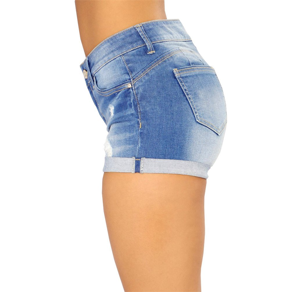 Nicetage Women/'s Cuffed Ripped Jean Shorts Stylish Junior Stretchy Destroyed Denim Shorts