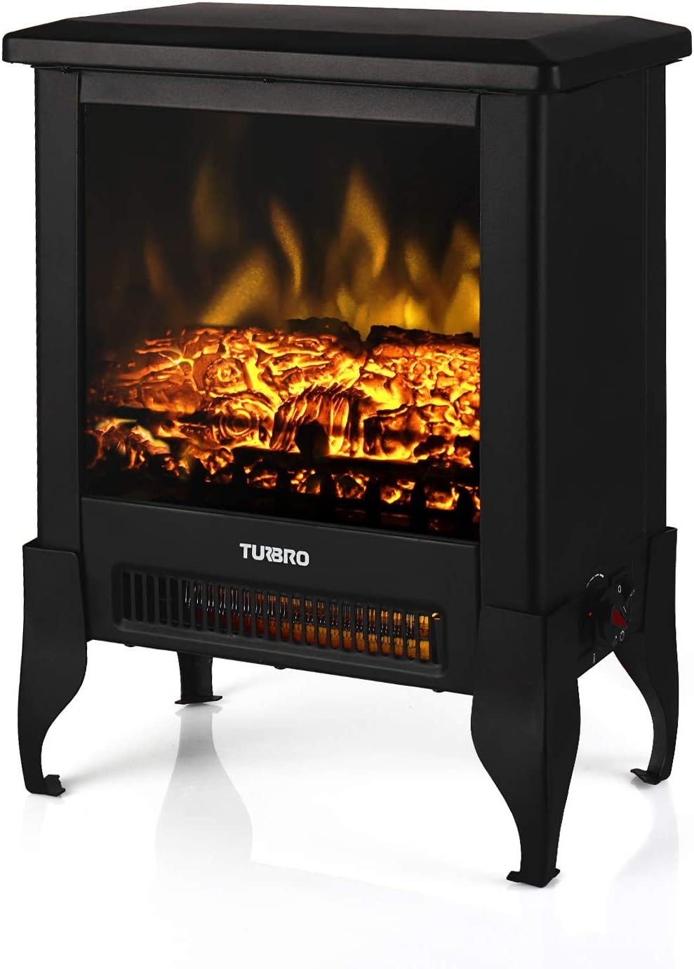 """TURBRO Suburbs TS17 Compact Electric Fireplace Heater, Freestanding Stove Heater with Realistic Flame - CSA Certified - Overheating Safety Protection - for Small Spaces - 17"""" 1400W"""