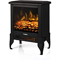 TURBRO Suburbs TS17 Compact Electric Fireplace Stove, Freestanding Stove Heater with Realistic Flame - CSA Certified - Overheating Safety Protection - for Small Spaces - 18″ 1400W